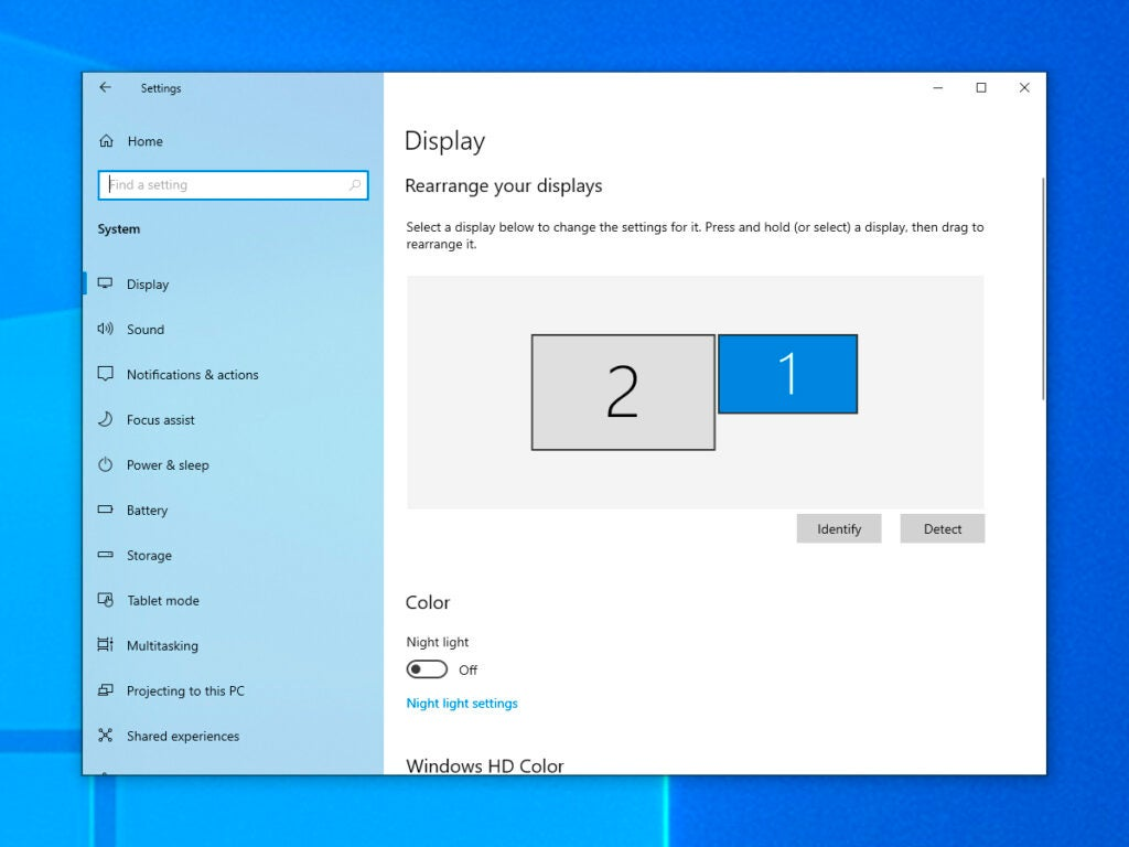 Screenshot of display options in Windows