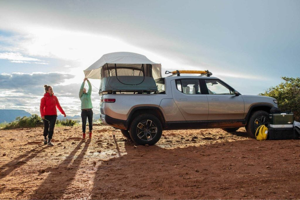 Rivian R1T electric pickup truck tent.