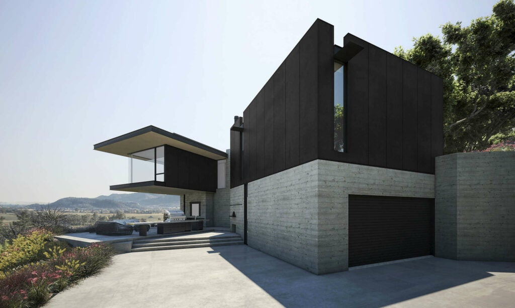 rendering of the concrete-like walls of an angular house