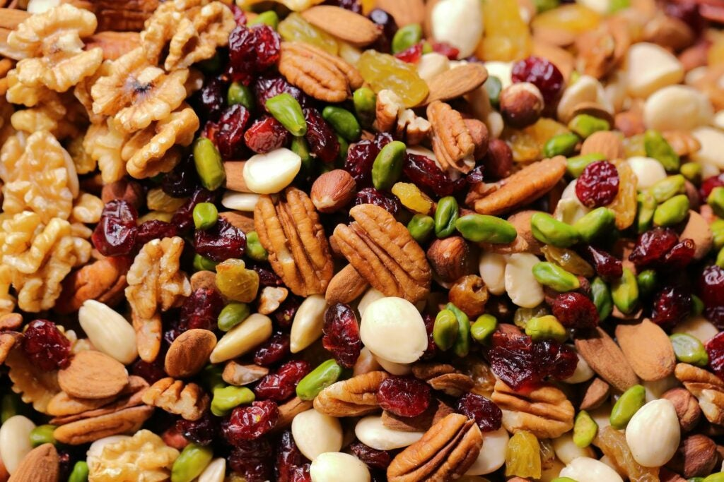 Close-up to trail mix