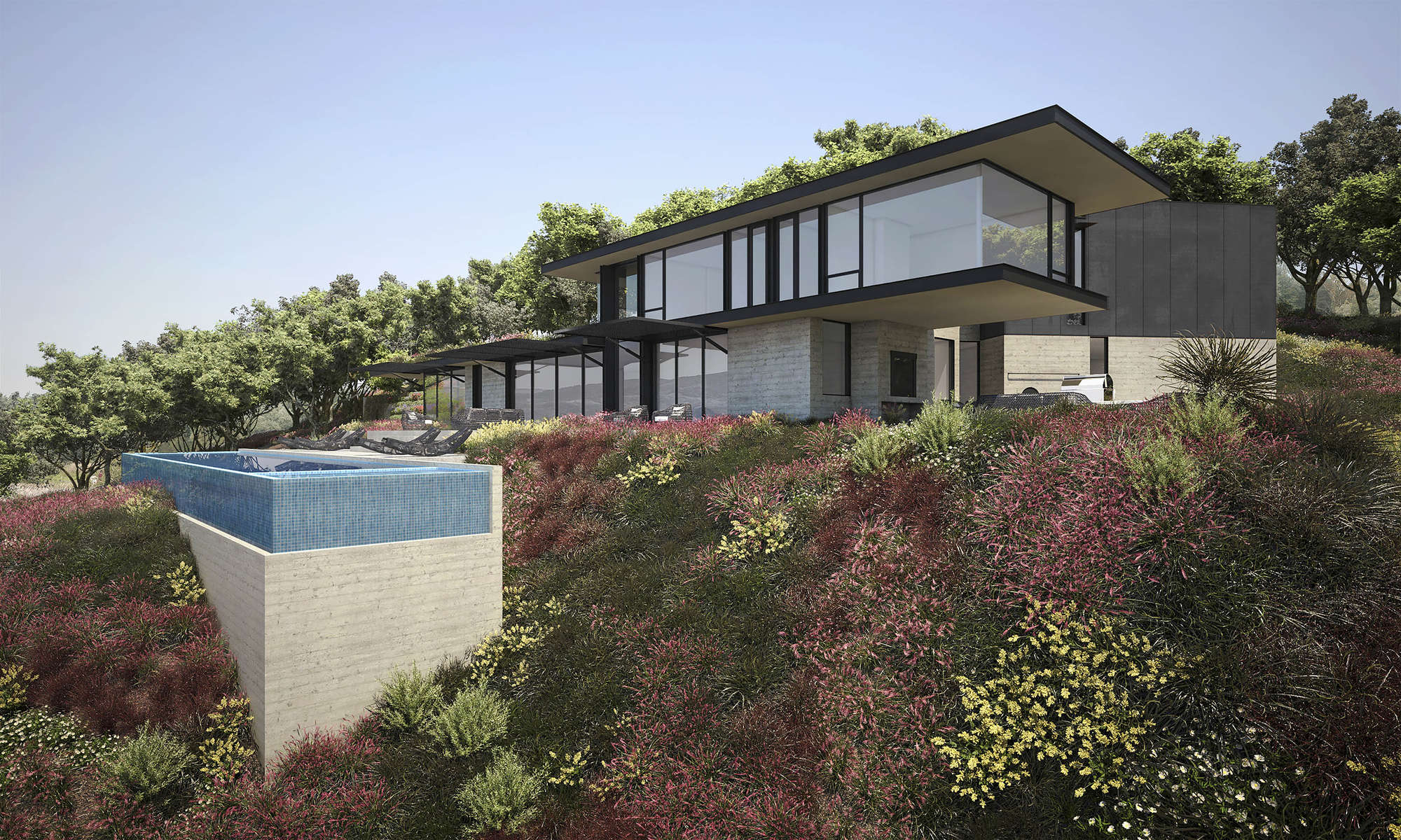 rendering of modular house on hill with shrubland around it