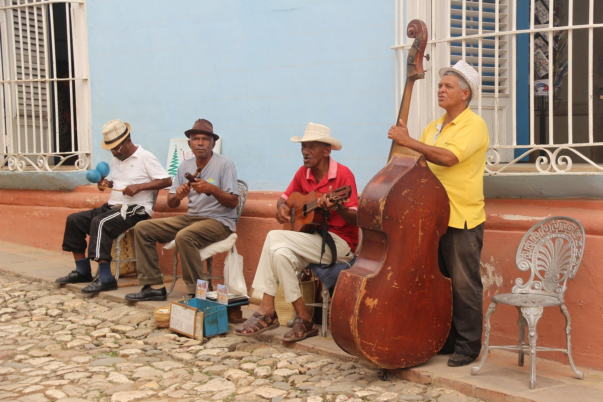 A salsa band on the street.
