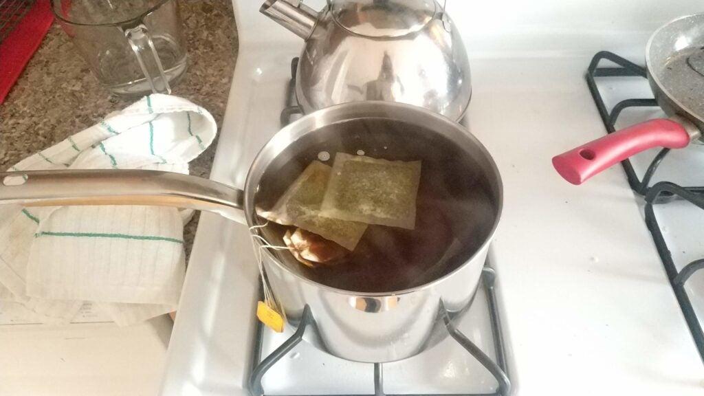 Tea brewing in pot