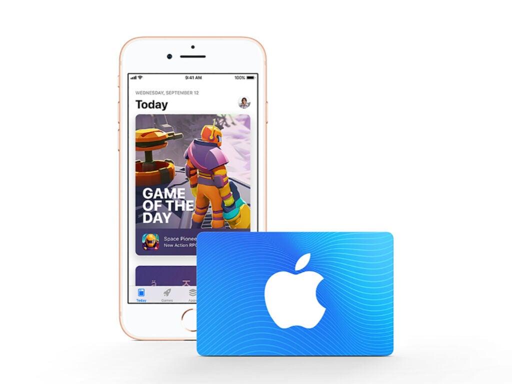 Screenshot of iTunes gift card
