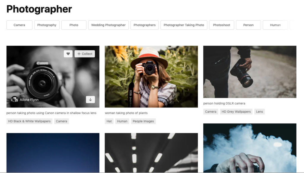Screenshot of stockphoto site