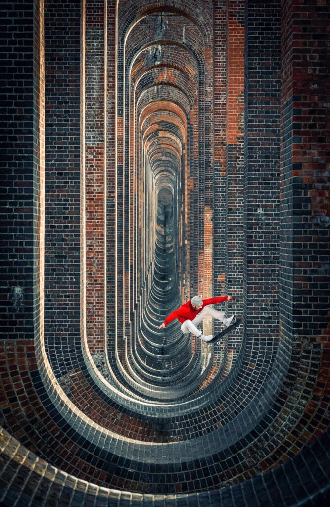 Vladic Scholz in the surreal Ouse Valley Viaduct in South England