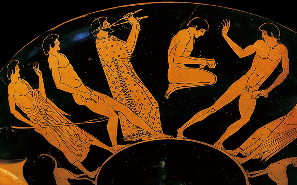 pottery showing athletes jumping