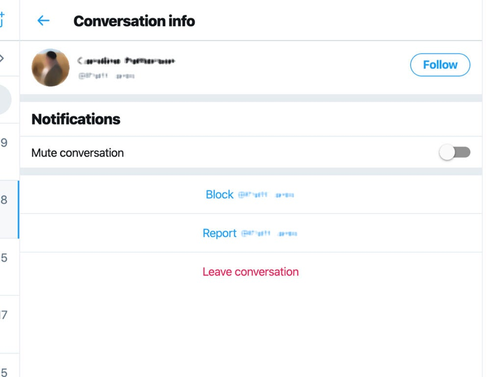 Twitter's options to block and report a user, or to leave the conversation