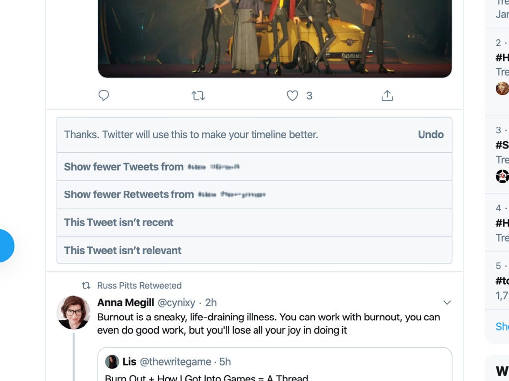 a Twitter timeline with the option to show fewer tweets and other options