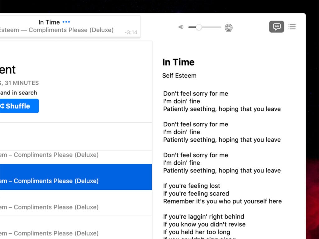 Lyrics on Music app on MacOS