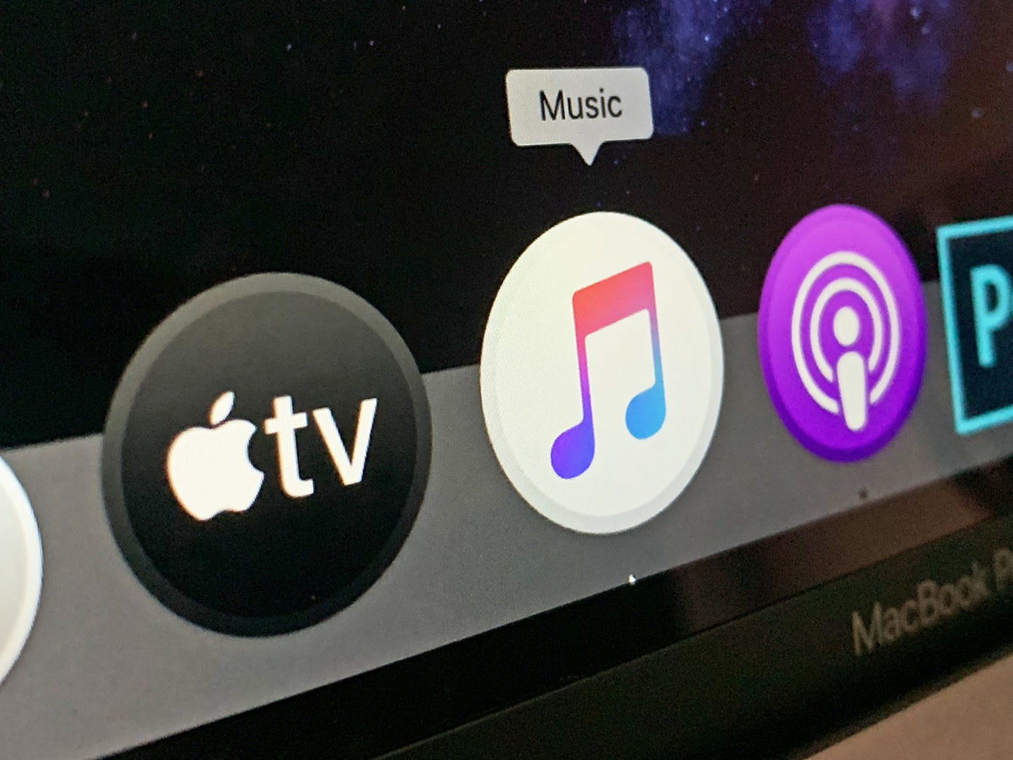 Icons for Music, TV, and Podcasts apps on Macos