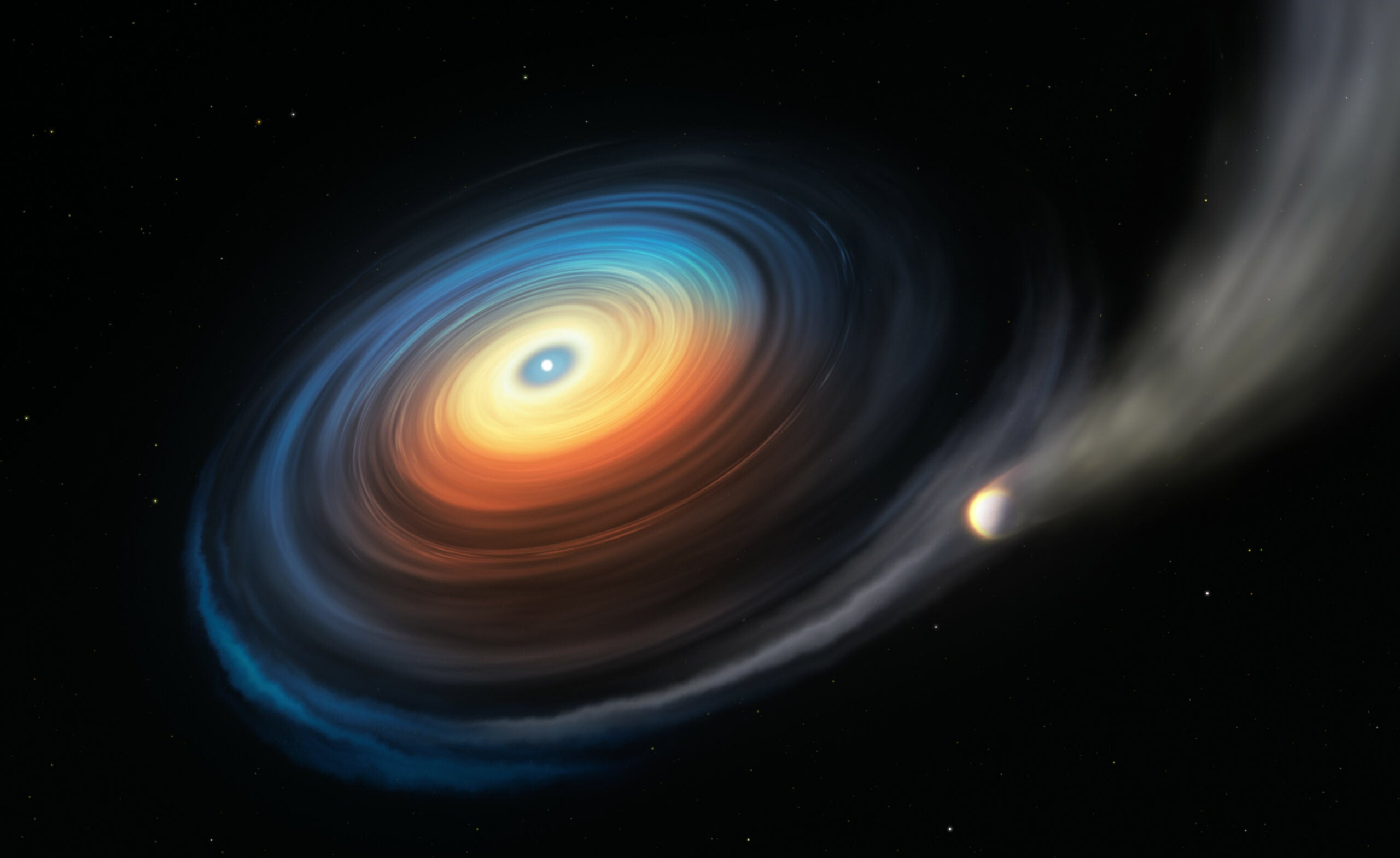 Illustration of a white dwarf eating a large planet.