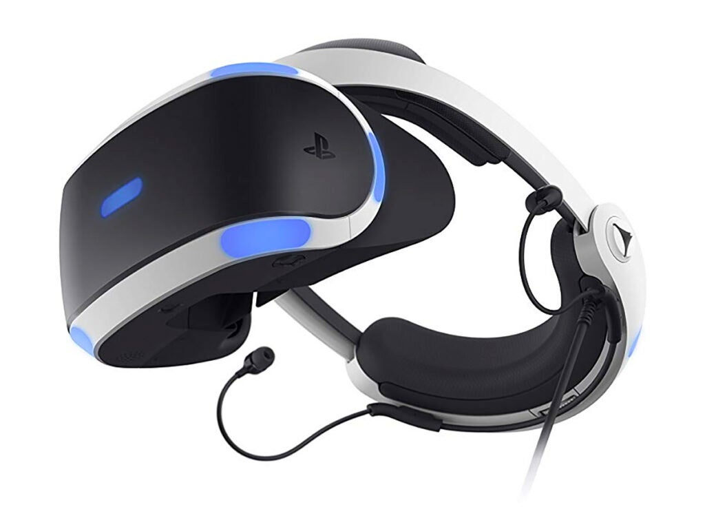 a Sony Playstation VR (PSVR) virtual reality (VR) headset for PlayStation 4 (PS4)