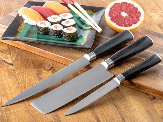 Damasukasu Japanese 3-Piece Master Chef Hanshu Knife Set