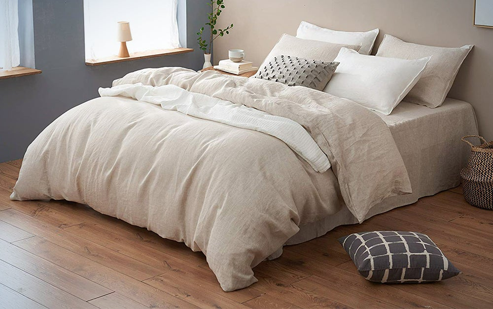 DAPU Pure Linen Duvet Cover Stone Washed European Flax