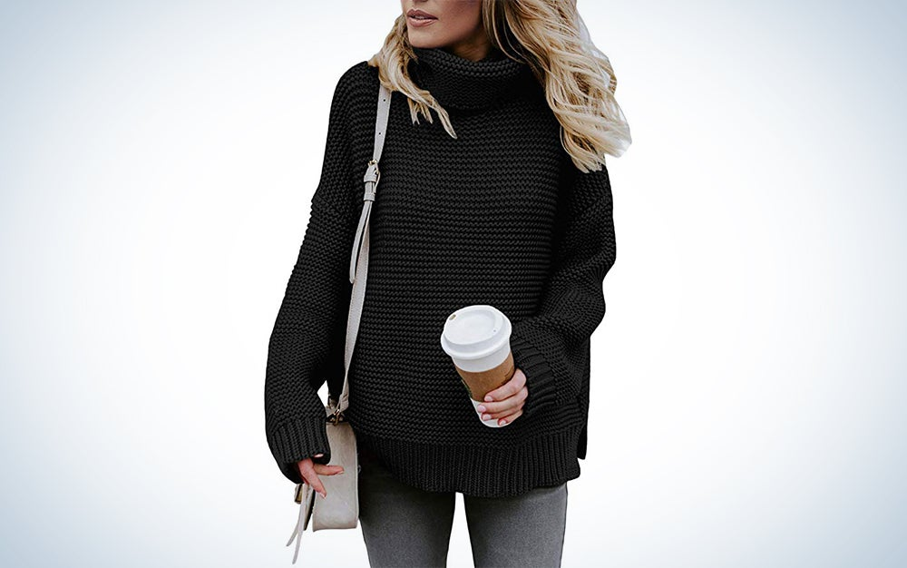 Zkess Casual Long Sleeve Turtleneck Chunky Knit Pullover Sweater Jumper Tops