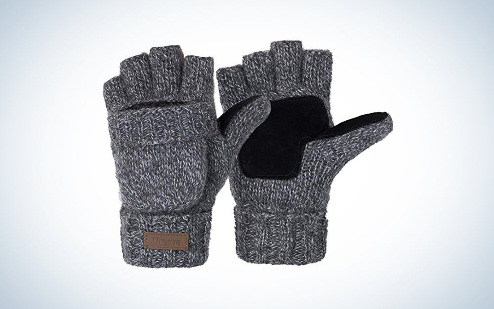 Knitted Fingerless Gloves Convertible Wool Mittens Warm Gloves