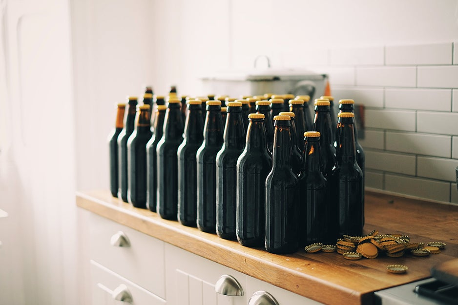 bottles of beer on a counter
