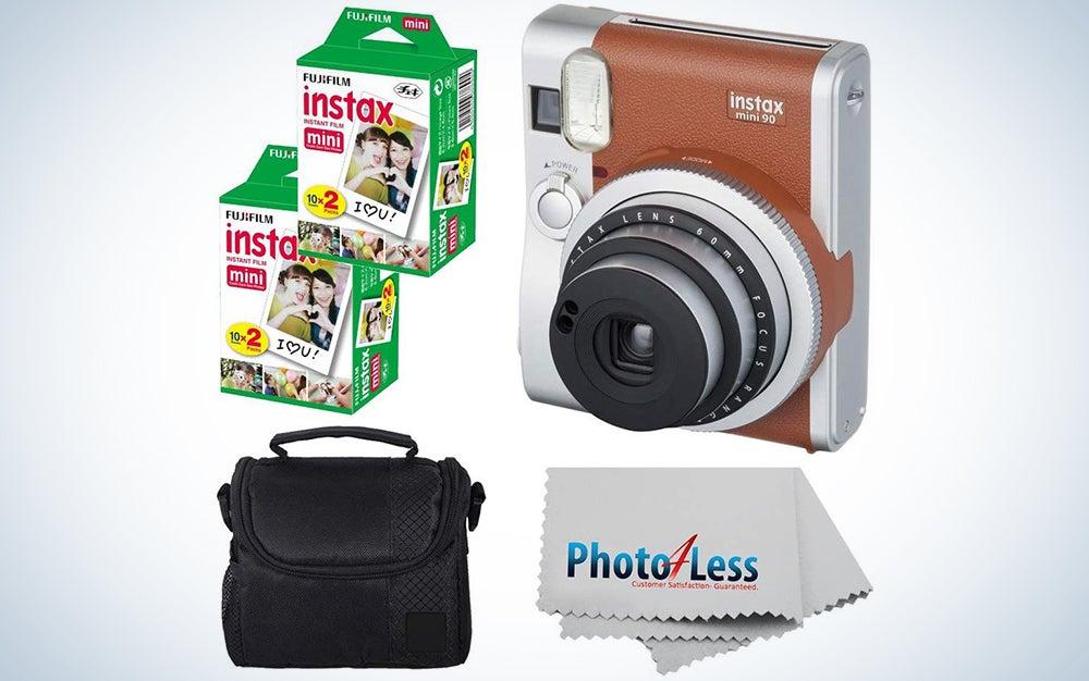 Fujifilm INSTAX Mini 90 Neo Classic Instant Camera (Brown) With 2x Fujifilm Instax Mini 20 Pack Instant Film (40 Shots) + Compact Camera Case + Cleaning Cloth - Instant Camera Bundle