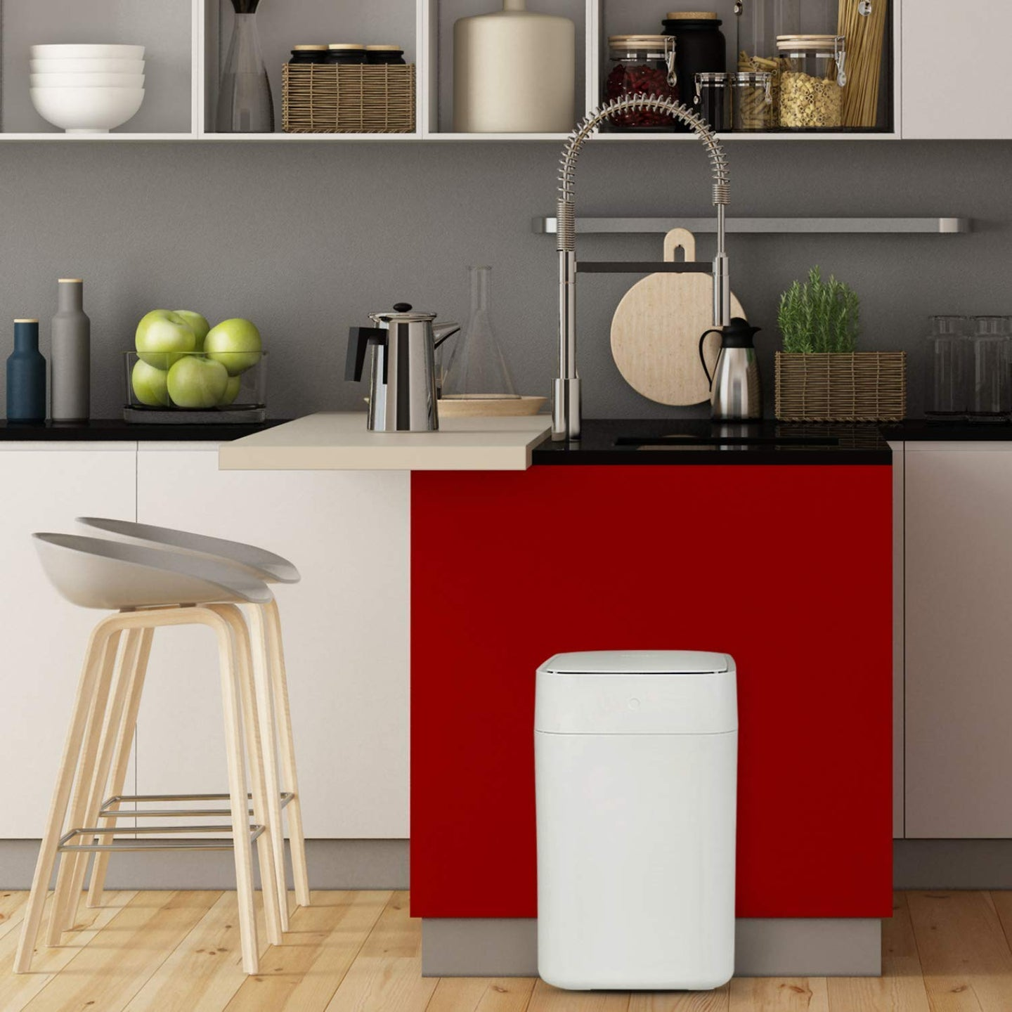kitchen with a garbage can