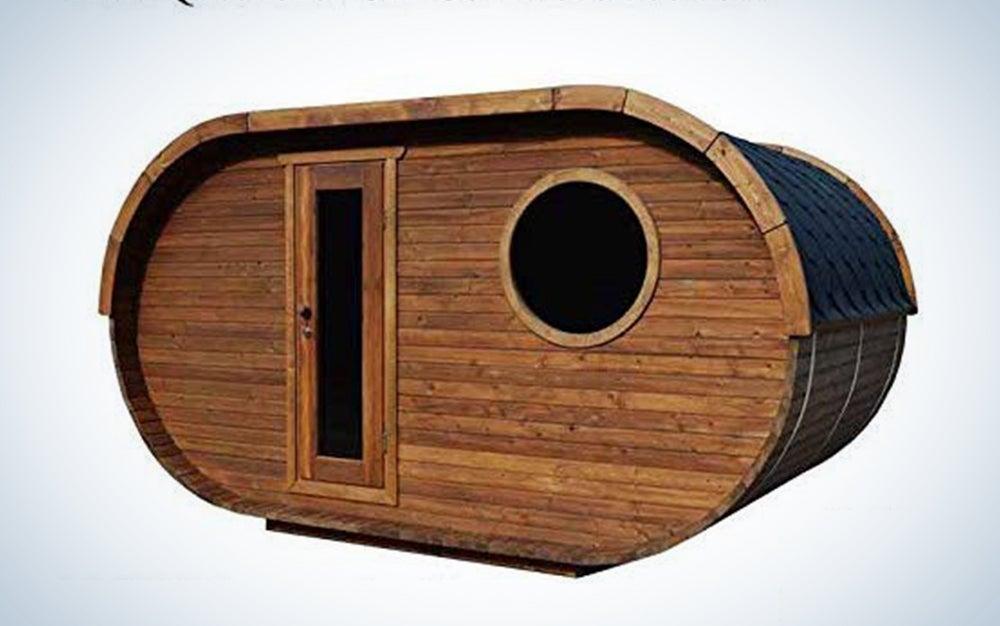 Barrel Sauna Kit Igloo 40, 8 Person Outdoor Sauna with Harvia Heater