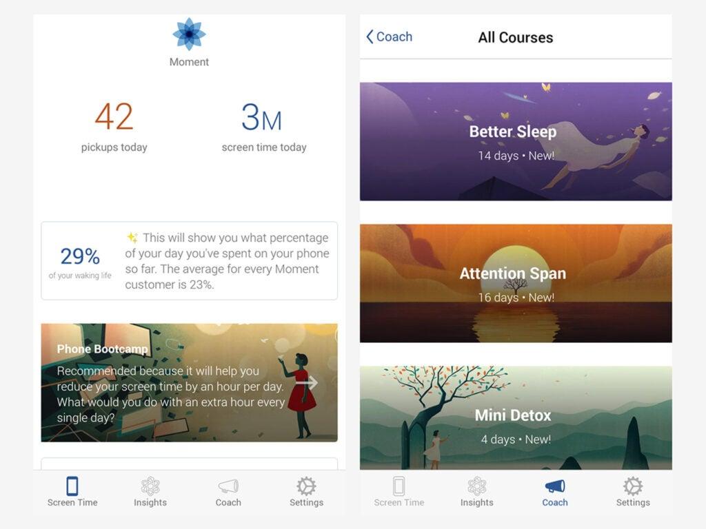 Screenshot of Moment app