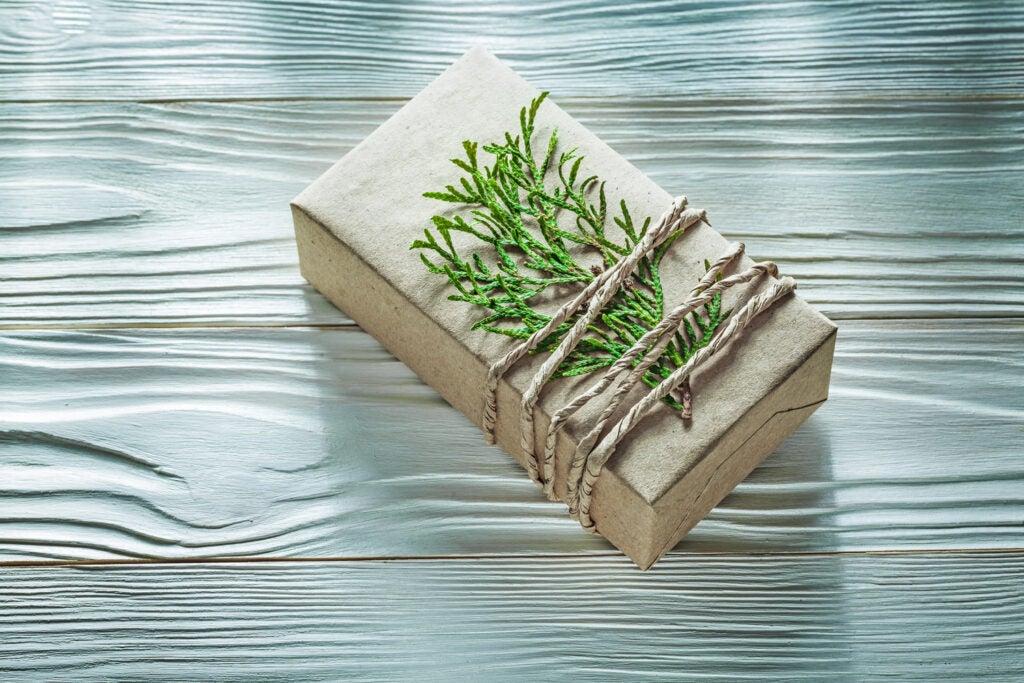 Corded handmade present box with thuya branch horizontal view.