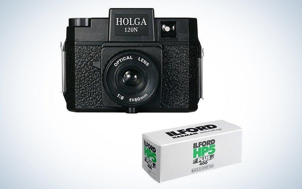 Holga 120N Medium Format Film Camera (Black) with Kodak TX 120 Film Bundle and Microfiber Cloth