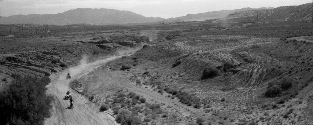Desert panoramic image in black and white