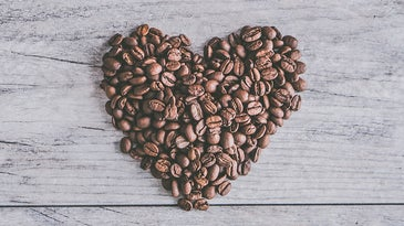 heart made of coffee beans