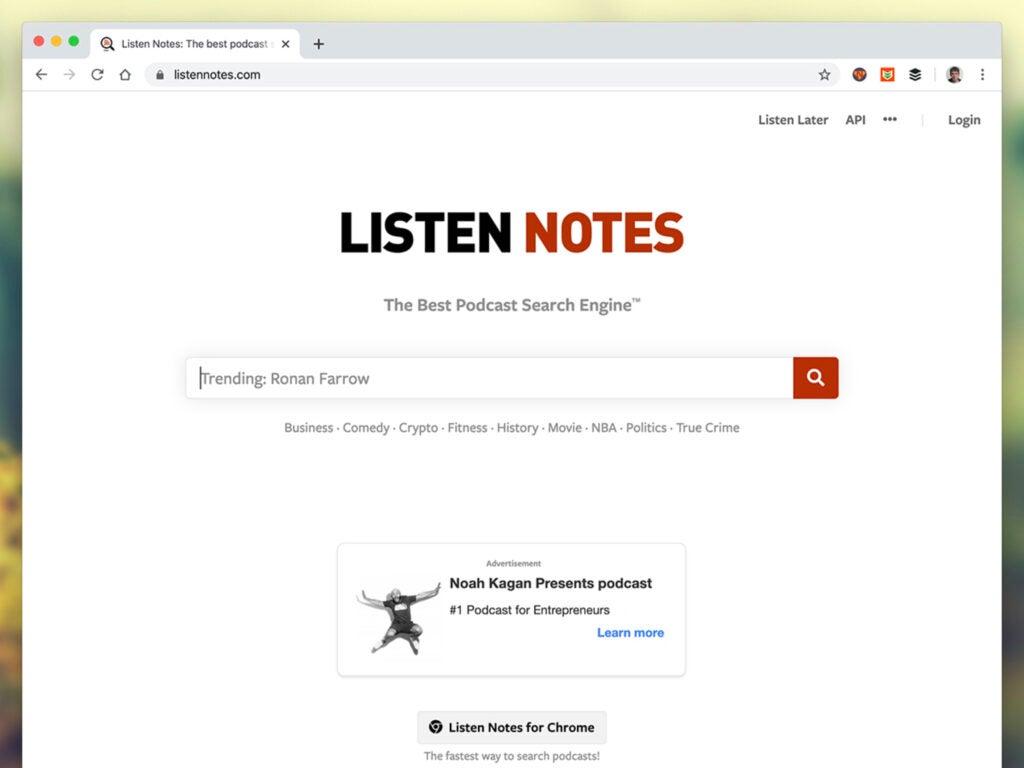 Screenshot of Listen Notes