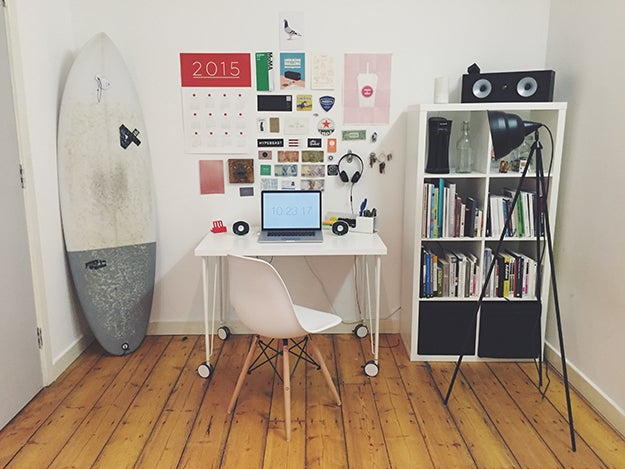 office with a surfboard