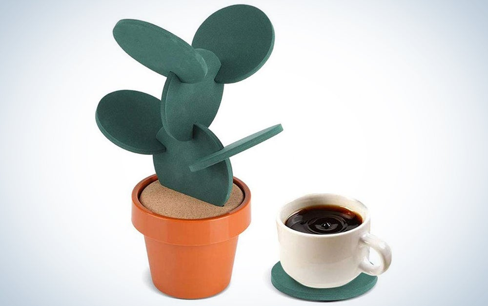 Buerey DIY Cactus Coasters Set of 6 with Flowerpot Holder
