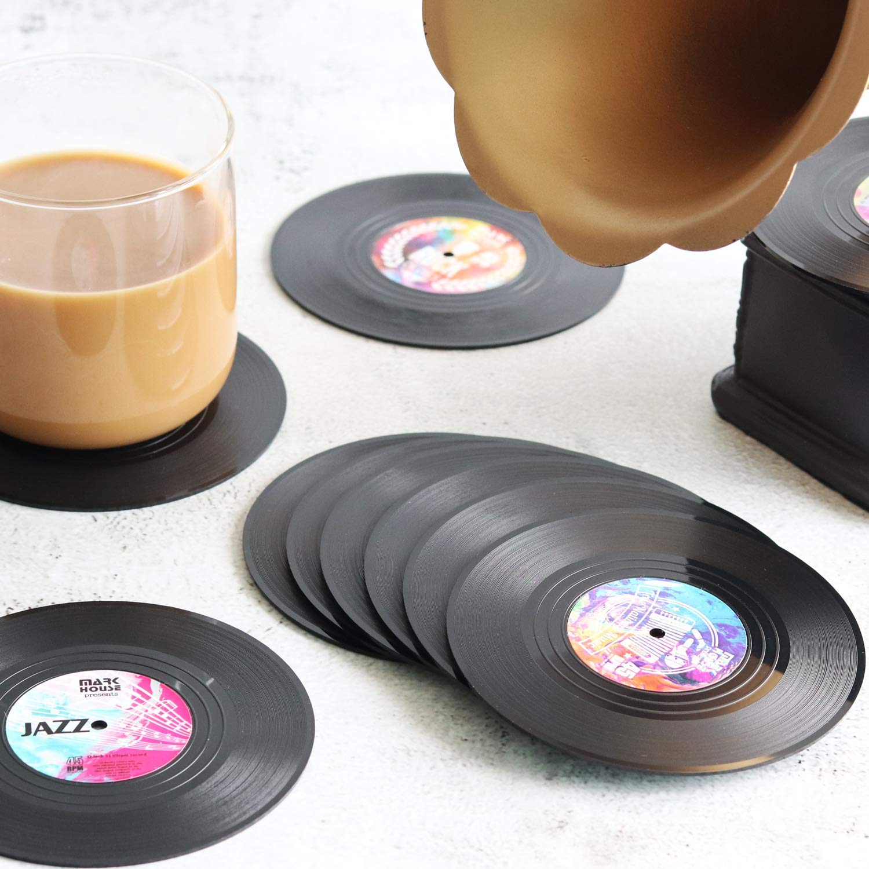 vinyl coasters on a table