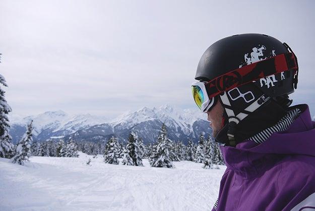 person on mountain wearing ski goggles