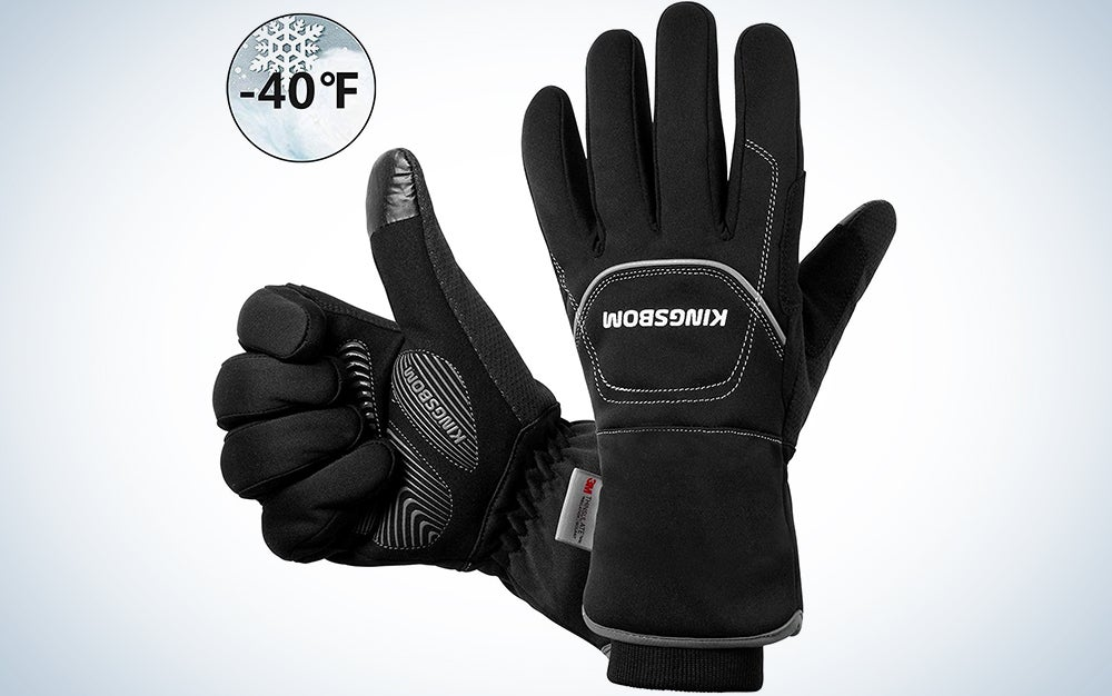 KINGSBOM Waterproof Warm Gloves - 3M Thinsulate Winter Touch Screen Thermal Gloves- for Cycling, Running, Riding, Outdoor Sports - for Women and Men