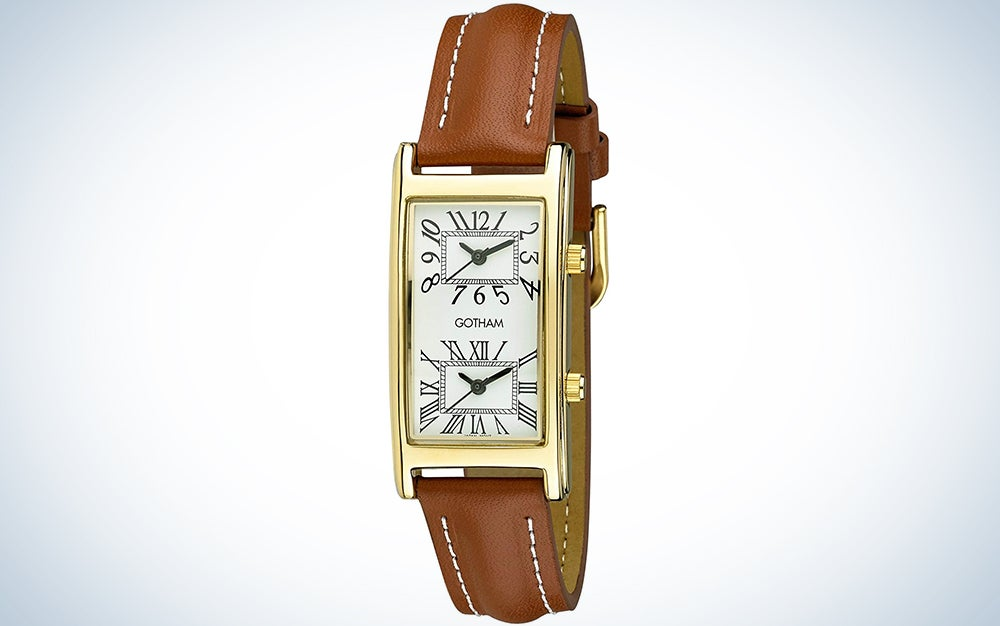 Gotham Unisex Gold-Tone Dual Time Zone Leather Strap Watch