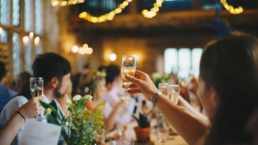 people holding up glasses in a toast