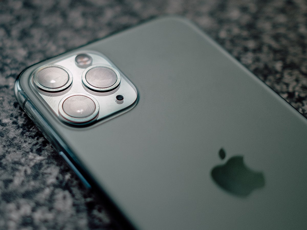 An iPhone 11's triple-lens camera