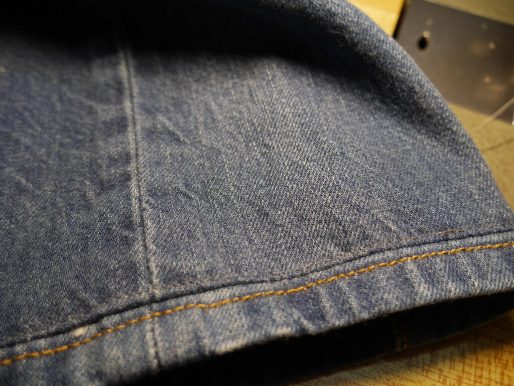 jeans shortened using the Hollywood hem technique
