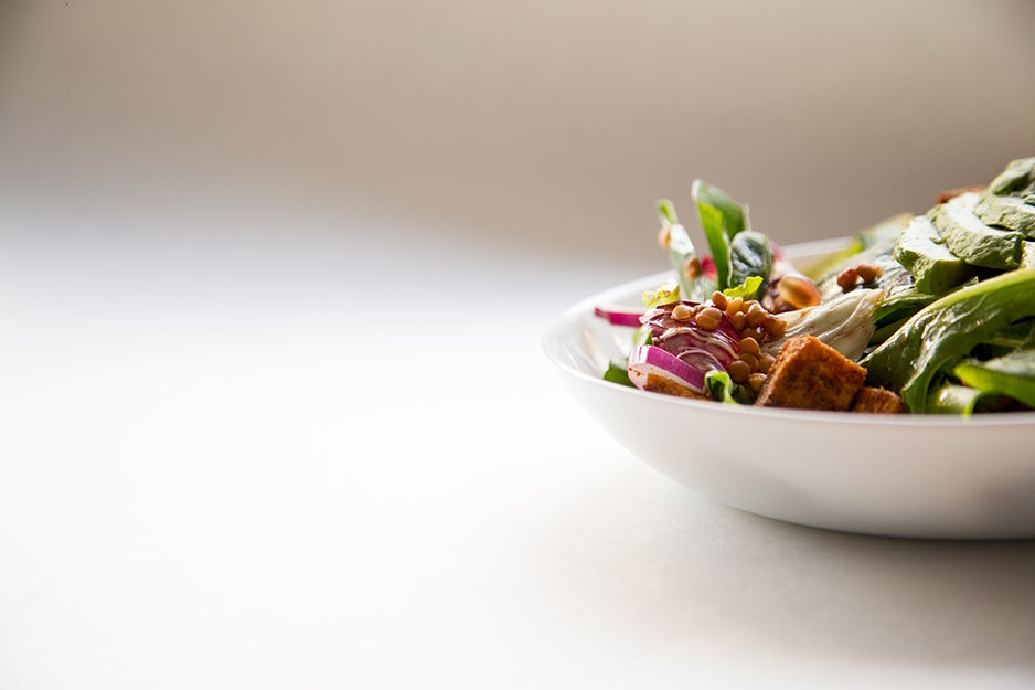 plate of tofu and greens