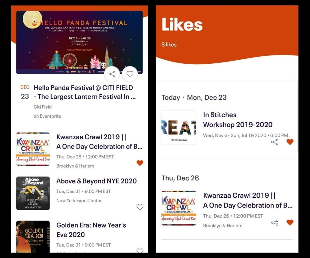 screenshots of the Eventbrite app with events favorited and liked and on a list of likes