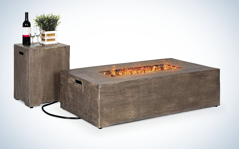 Outdoor Patio Rustic Farmhouse Wood Finish Propane Fire Pit Table