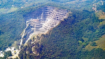 Looking down on an open pit mine in the Brazilian Amazon