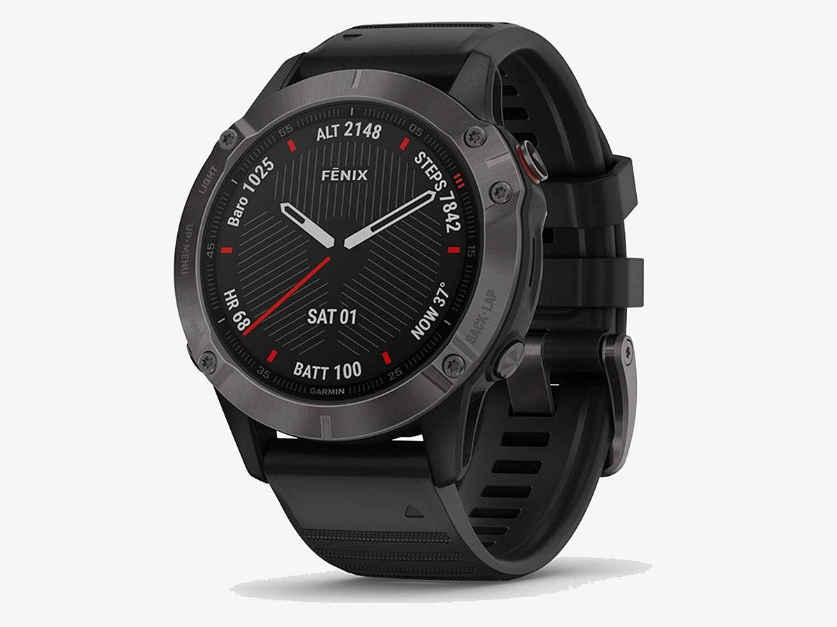 a black Garmin Fenix 6 smartwatch