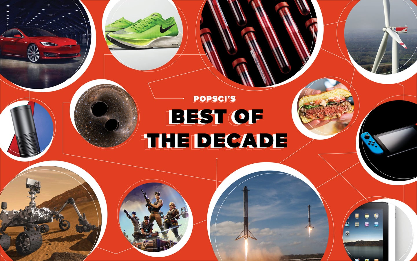 Snapshots of the best tech of the decade, including the Impossible 2.0 burger, Curiosity rover, and Fortnite video game
