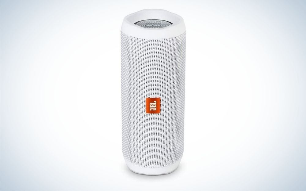 JBL white portable Bluetooth outdoor speaker
