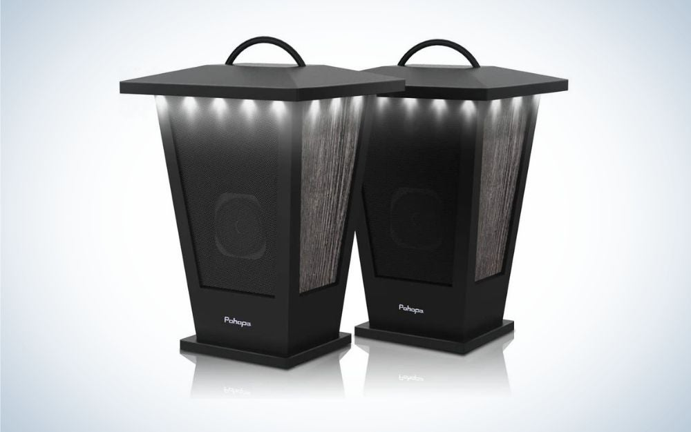 2 pack black lantern outdoor speakers