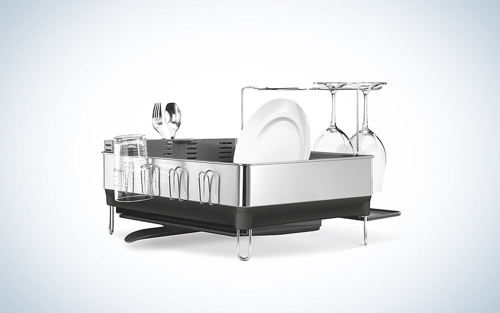 simplehuman Kitchen Steel Frame Dish Rack With Swivel Spout