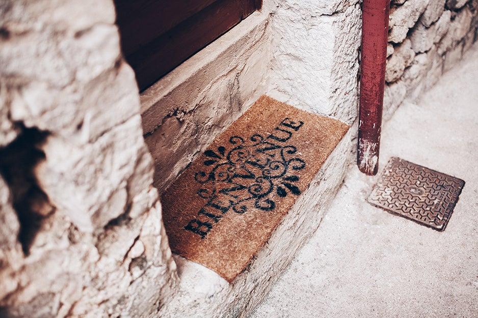 welcome mat at a door